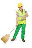 Funny janitor with broom Stock Photo