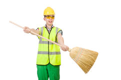 Funny janitor with broom Stock Photos