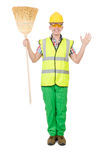 Funny janitor with broom Royalty Free Stock Images