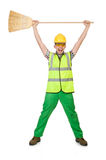 Funny janitor with broom Royalty Free Stock Photos