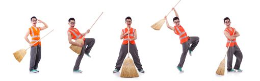 Funny janitor isolated on white. The funny janitor isolated on white royalty free stock photography