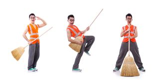 The funny janitor isolated on white. Funny janitor isolated on white royalty free stock photos
