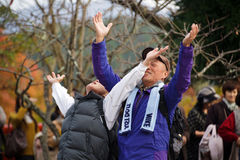 Funny Japanese prayers Royalty Free Stock Image