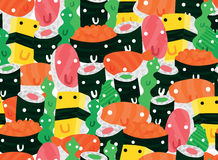 Funny Japanese Sushi Characters Stock Images