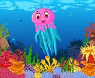 Funny jellyfish cartoon with beauty sea life background Stock Photo