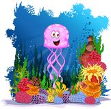 Funny jellyfish cartoon with sie life background Royalty Free Stock Image