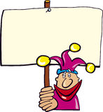 Funny jester with board. Cartoon illustration of funny jester with board Stock Photography