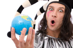 Funny jester with globe. Global communications concept with jester joker and globe Stock Photos