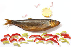 Funny jesting. Funny and tasty pic: herring, sea and sun Royalty Free Stock Image