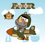 Funny jet pilot. Vector cartoon of rhino pn military jet. EPS 10 Royalty Free Stock Photos