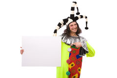 Funny joker. Portrait with blank board on white background Stock Photos