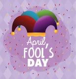 Funny joker hat to fools day. Vector illustration vector illustration