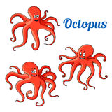 Funny and joyful cartoon red octopuses Stock Photography