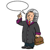 Funny judge with balloon for text Stock Image