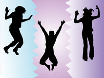 Funny jumping people Royalty Free Stock Photo