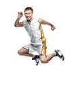 Funny jumping sportsman Stock Images