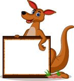 Funny kangaroo with blank board Stock Photos