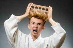 Funny karate fighter Stock Photos