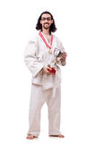 The funny karate fighter with cup on white Royalty Free Stock Image