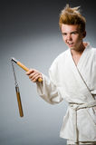 Funny karate fighter Royalty Free Stock Photos