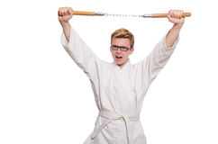 Funny karate fighter Stock Images