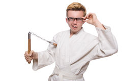 Funny karate fighter Royalty Free Stock Image