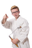 Funny karate fighter Royalty Free Stock Photography