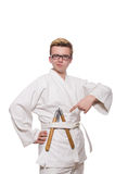 Funny karate fighter with nunchucks Stock Images