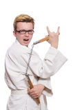 Funny karate fighter with nunchucks Royalty Free Stock Images