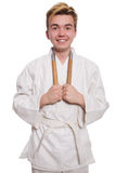 Funny karate fighter Royalty Free Stock Photo