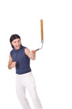 Funny karate fighter with nunchucks Royalty Free Stock Image
