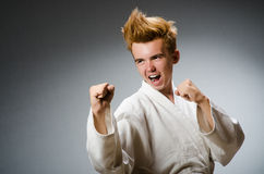 Funny karate fighter wearing Stock Image