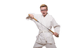Free Funny Karate Fighter With Nunchucks Stock Images - 41708694