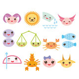 Funny Kawaii zodiac sign, astrological set virgo Royalty Free Stock Photos