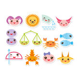 Funny Kawaii zodiac sign, astrological stiker set Royalty Free Stock Image