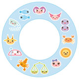 Funny Kawaii zodiac sign, astrological stiker set Stock Photos