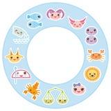 Funny Kawaii zodiac sign, astrological stiker set Stock Photos