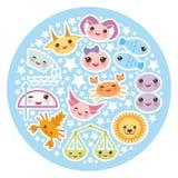 Funny Kawaii zodiac sign, astrological stiker set Royalty Free Stock Images