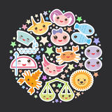 Funny Kawaii zodiac sign, astrological stiker set Royalty Free Stock Photography