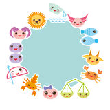 Funny Kawaii zodiac sign, light blue round frame Royalty Free Stock Images