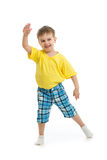 Funny kid boy dancing isolated. On white Royalty Free Stock Photos