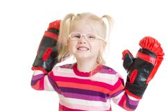 Funny kid or child in eyeglasses boxing isolated Royalty Free Stock Photos