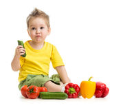 Funny kid eating healthy food royalty free stock photo