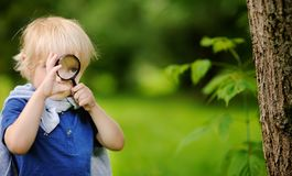 Funny kid exploring nature with magnifying glass royalty free stock images