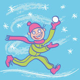 Funny kid happy winter. Stock Photos