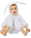 Funny kid in the rabbit costume Stock Photos