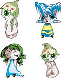 Funny kids. Set of color vector illustrations Stock Images