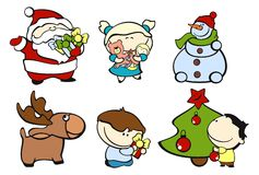 Funny kids #3 - Christmas. Set of images of funny kids on a white background #3, Christmas theme Royalty Free Stock Photo