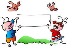 Funny kids with banner. And birds illustrated cartoon image Stock Photo