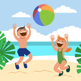 Funny kids on the beach. Happy boy and girl sunbathe and play beach volleyball on the beach. Stock Photography
